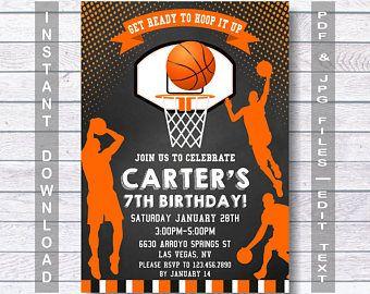 Basketball Invitations, Basketball Birthday Invitation,   INSTANT DOWNLOAD, Basketball Invite, Teen Invitation,  any age, Basketball Party