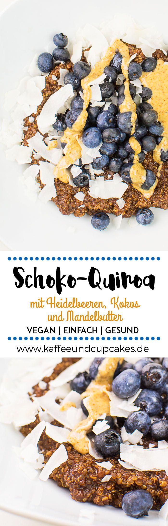 Schoko-Quinoa mit frischen Heidelbeeren, Kokos-Chips und selbstgemachter Mandelbutter | Kaffee & Cupcakes #vegan #breakfast #frühstück #brei #quinoa #gesund #schoko #schokolade #kakao #heidelbeeren #blaubeeren #kokos #mandeln #mandelbutter #food