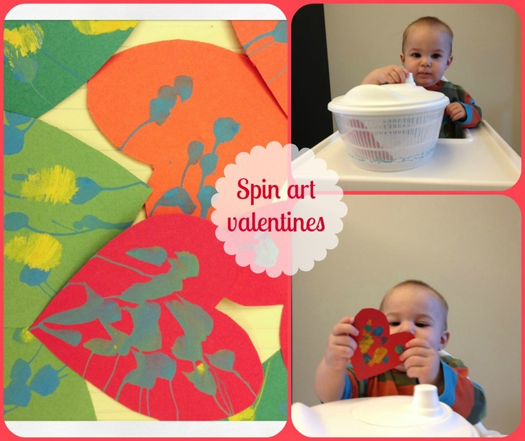 Spin art valentines. Mess free toddler activity.  http://brieandnickzentil.blogspot.com/2013/02/spin-art-valentines.html