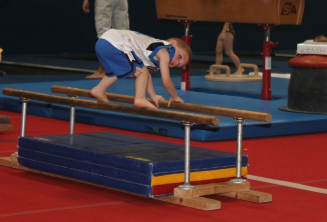 gymnastics for boys at home; my son was doing this in gymnastics class today! :-)
