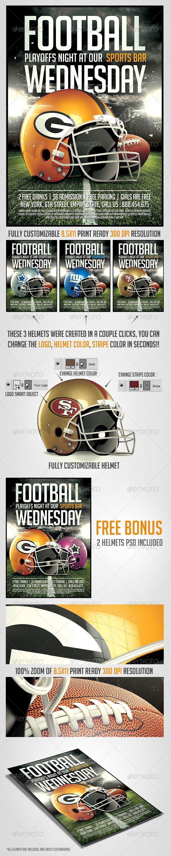 College Football Night Flyer Template Ideal Sports Events, With Editable  Realistic Helmets , Click To