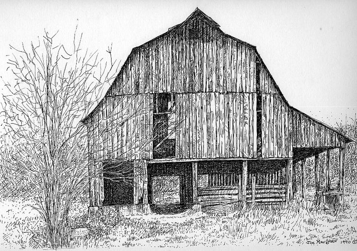 Drawings and Paintings of Barns | Pen and ink barns, sheds, houses, and other structures