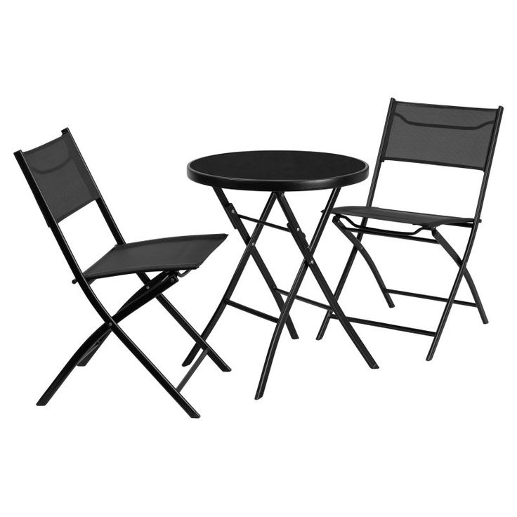 Flash Furniture 23.75 In. Round Tempered Glass Metal Outdoor Table With 2  Fabric Folding Chairs