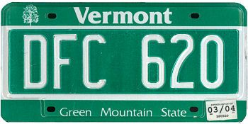 This is the official license plate for the state of Vermont as it has been officially adopted by the state legislature. Also known as a vehicle registration plate, it is used to identify the car and owner of a motor vehicle or trailer in the state.
