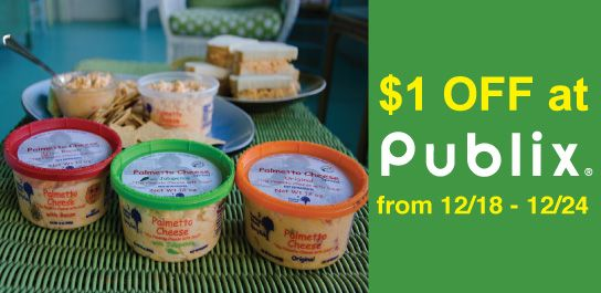Palmetto Cheese will be on sale for $1.00 OFF at ALL Publix locations from Dec. 18-24. #palmettocheese