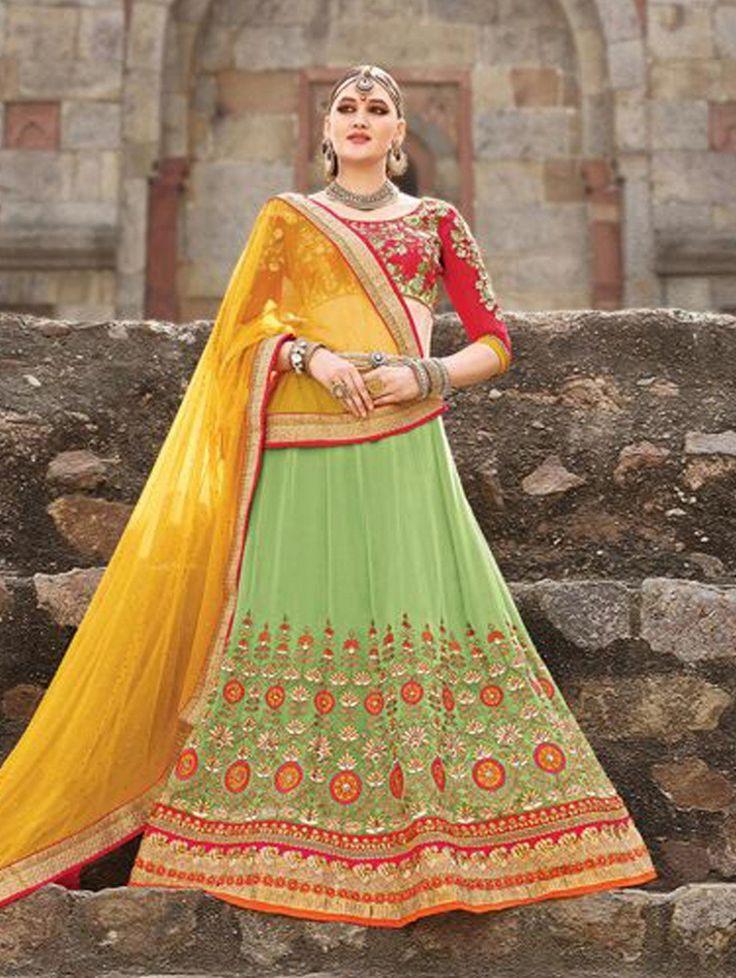 Green Pure Silk Lehenga Choli with Embroidery Work