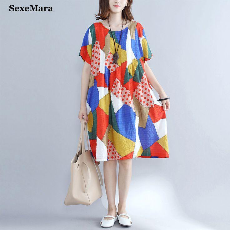 Smart summer dress Casual sarafans Vintage Loose Patchwork O-Neck summer Plus size long vestidos for girls #Affiliate