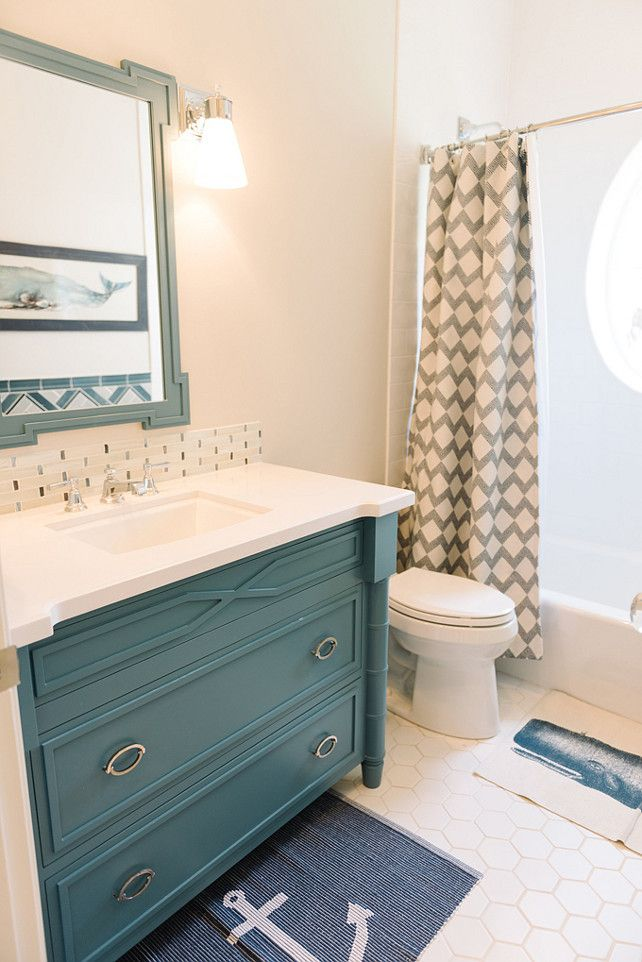 "Inspiring Family Home Interiors - ""Bathroom Cabinet"" (Paint Color: Refuge SW6228 Sherwin-Williams)"