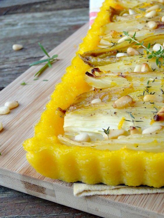 Tarte de polenta aux endives braisées à l'orange et au chèvre { Opération Prince de Bretagne }