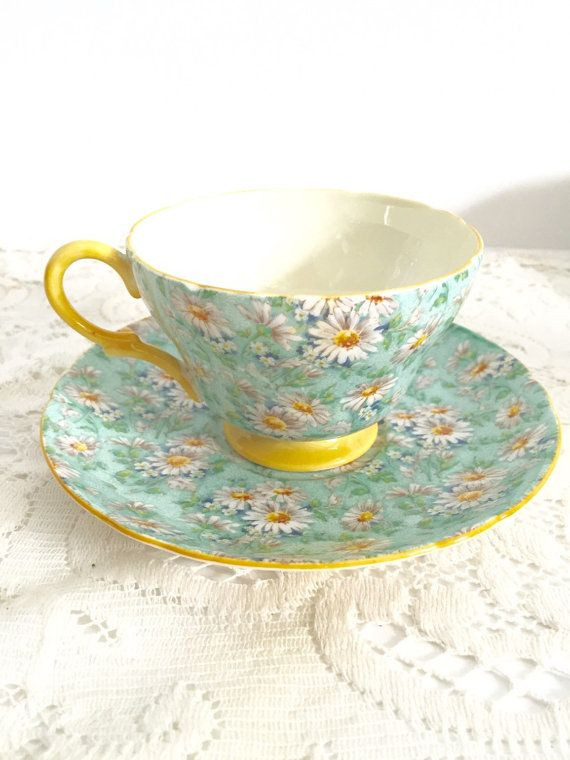 Item Description:  This is a very beautiful Shelley Marguerite footed tea cup and saucer with a Henley shape. It is in great condition! This