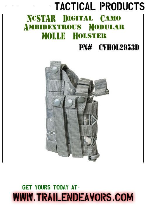 NcSTAR Tactical Holster - Innovative Ambidextrous Modular MOLLE Holster that is fully configurable for Full Size and Compact semi autos without or with tactical flashlights/lasers.