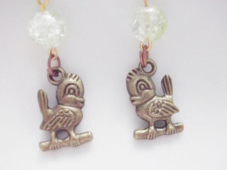 earrings with birds and green frosted beads