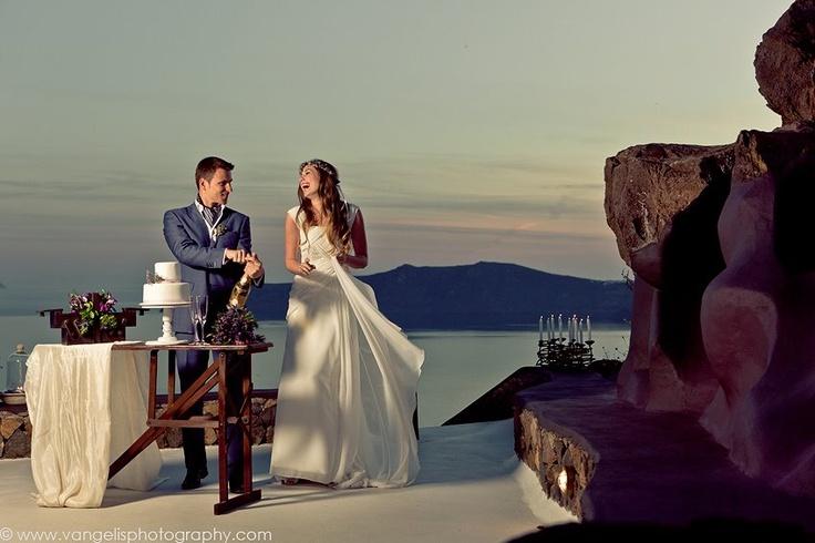 Wedding ceremony of Lilia and Aleksey in Villa Elidami ... Aenaon Villas, Santorini ... organized by Poema Weddings ... photo taken by Vangelis Beltzenitis