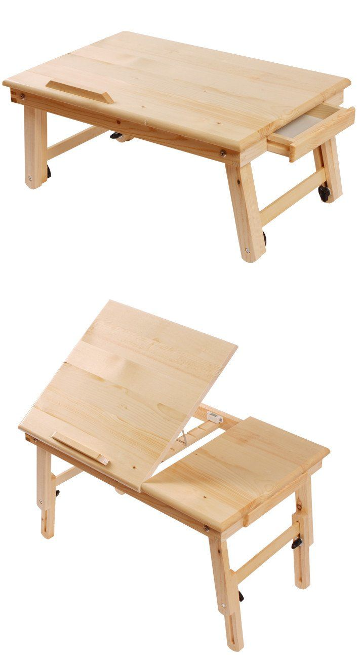 Rolling bed tray table - Solid Wood Foldable Notebook Laptop Table Adjustable Height Angle Folding Food Bed Lap Top