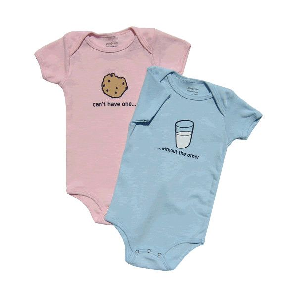 Milk cookies boy girl twin onesies set cute funny twin baby clothing found on polyvore http