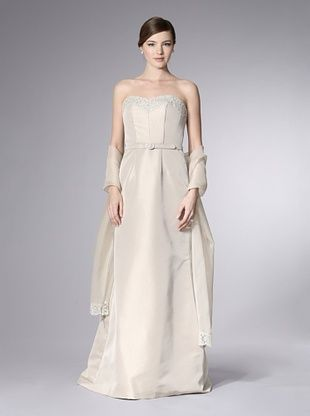-27,400% OFF Theia Women's Taupe Gown with Lace Trimmed Bodice (Taupe)