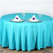"""90"""" Turquoise Wholesale Polyester Round Tablecloth"""