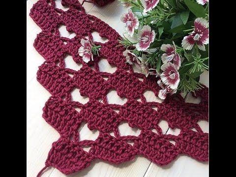 Tina's handicraft : crochet shawl heart stitch shape