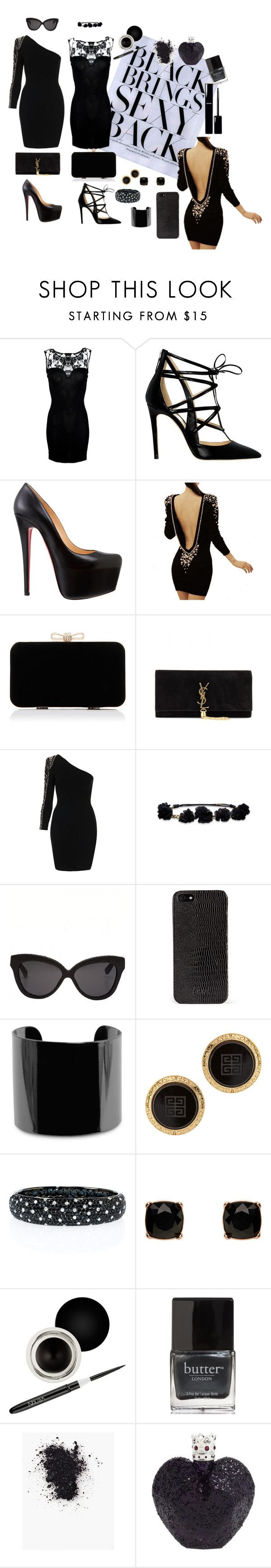"""Black"" by tashapramudita ❤ liked on Polyvore featuring Alejandro Ingelmo, Christian Louboutin, Forever New, Yves Saint Laurent, TFNC, Hollister Co., Linda Farrow, DKNY, MANGO and Susan Caplan Vintage"