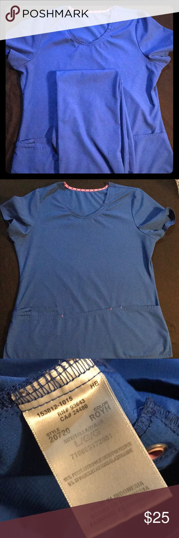 Royal Blue Scrub Set Royal Blue Heart and Soul scrubs set. medium drawstring bottoms with a large top. Small snag on the front right of pants, shown in picture. Very comfortable, breathable fabric. Heart and Soul Other