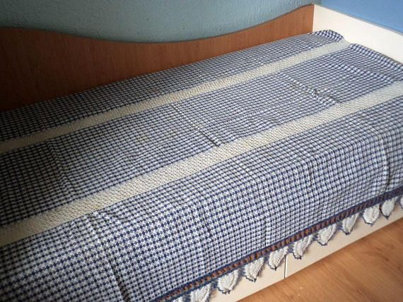 Antique Bed Cover - White & Blue chequered Bed Cover - Cotton Bed Cover with Hand crocheted Lace - Handmade Bed Cover - Vintage Farmhouse
