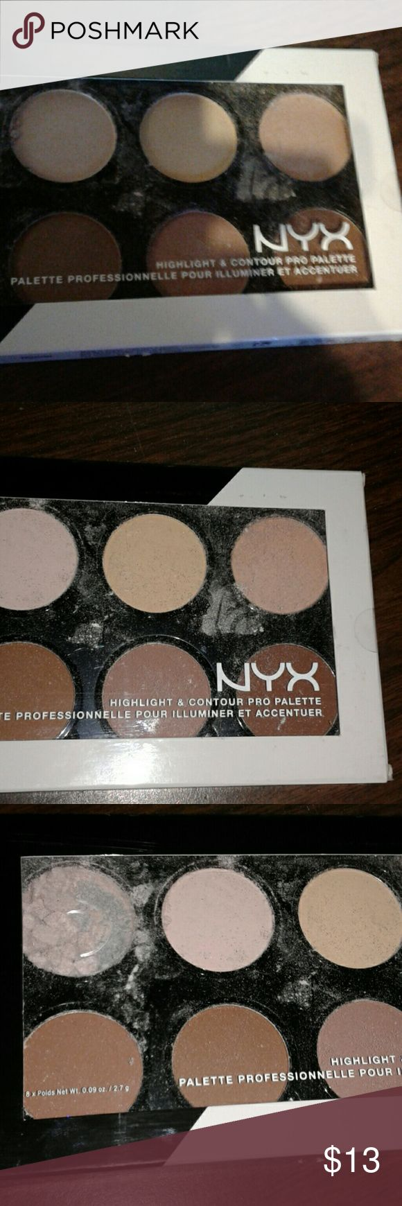 NYX PROFESSIONAL Highlight & Contour Pro Palette Define your features like a pro with NYX Professional Makeup refillable Highlight & Contour Pro Palette! Each set includes four customizable highlighting and contouring shades perfect for emphasizing your favorite features.  Accidentally dropped it and one of the shades exploded. It's never even been opened.  Price reflects this broken shade. Makeup Eyeshadow