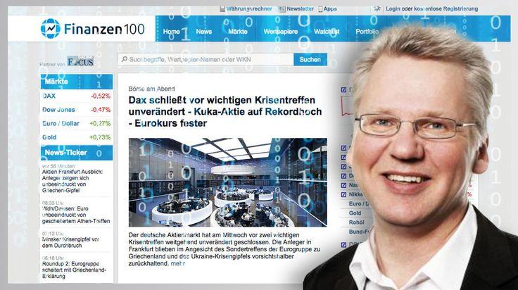 Für Börsenberichte: Tomorrow Focus setzt jetzt auf Robotertexte  Hinter der Seite Finanzen100.de arbeitet jetzt der Algorithmus von Text-on. Das Start-up wurde von Wolfgang Zehrt (Foto) und Cord Dreyer aufgebaut. Fotos:  Text-on, Tomorrow Focus, Edelweiß – Fotolia.com.