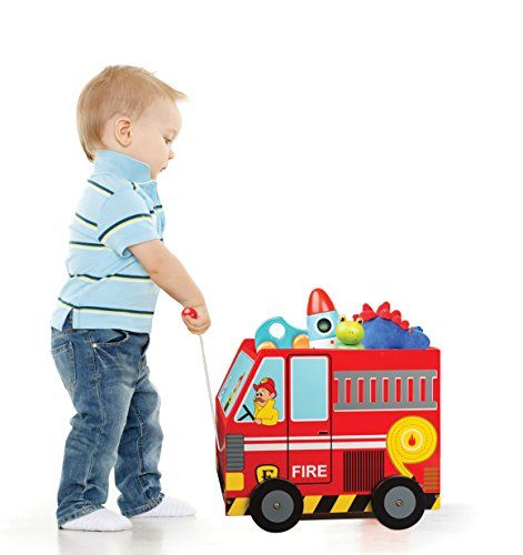 PULL ALONG TOY BOX – Teach your children to clean up their toys while playing pretend firemen FIRE TRUCK WAGON – Let your children imagine with our Fire Truck-themed wagon as they carry their toys across rooms TOYS THAT TEACH – Our Fire Truck Pull Along Toy Box encourages your children to imagine