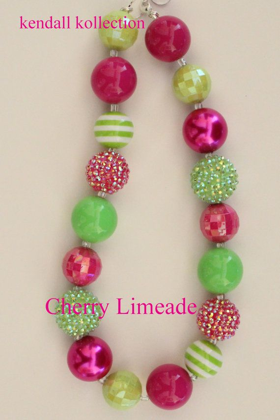 """Cherry Limeade"" Chunky Beaded Necklace for women, girls, kids"