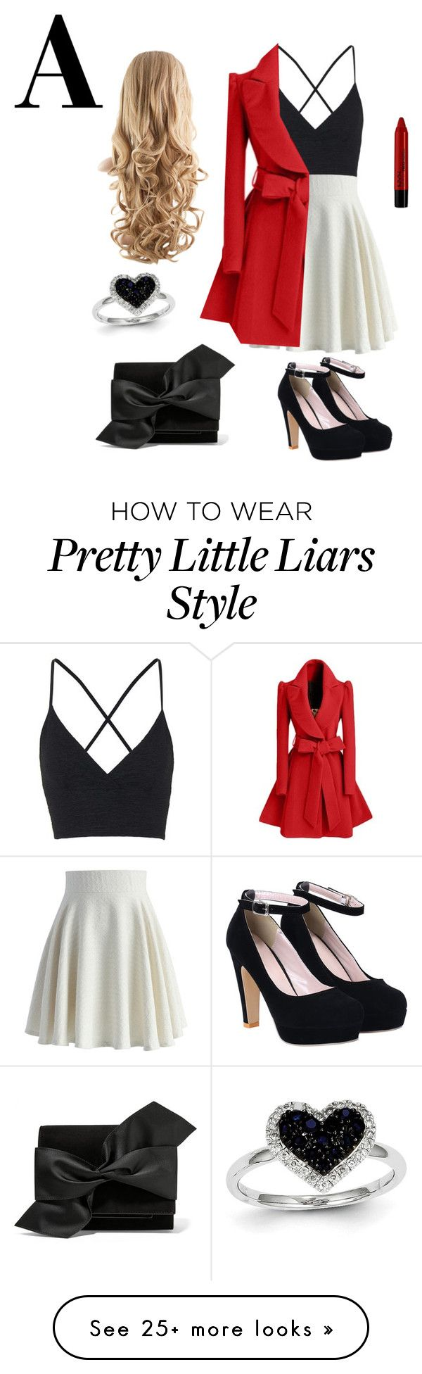 """A from pretty little liars"" by wedonthavetolivethisway on Polyvore featuring Chicwish, Topshop, NYX, Victoria Beckham, Kevin Jewelers, women's clothing, women's fashion, women, female and woman"