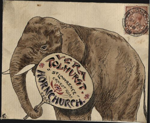 By Charles Frederick Tolhurst and sent to his son Reginald Check out the postal heritage website for more of these beautiful illustrated envelopes