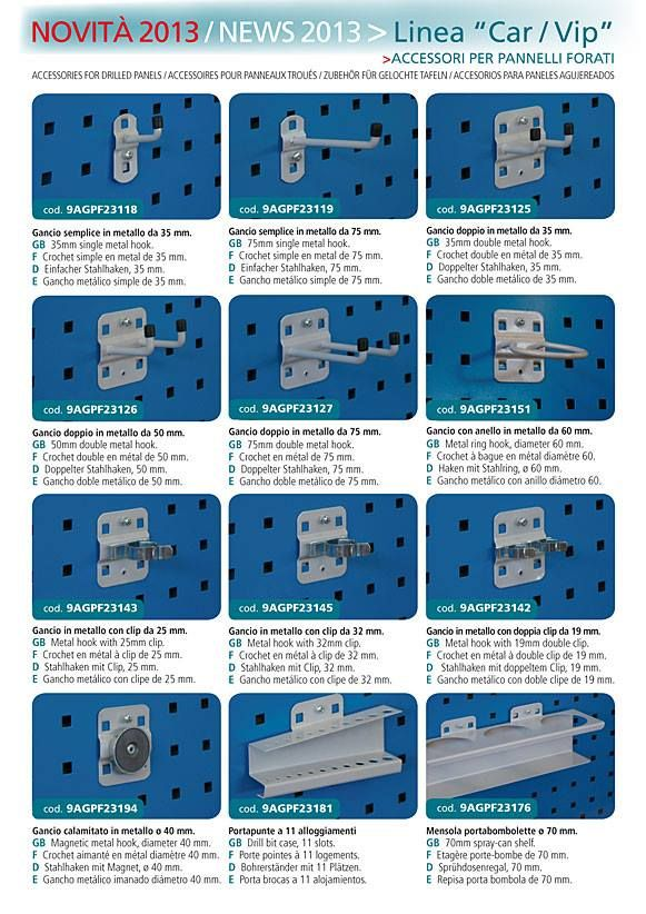 Accessories for drilled panels.