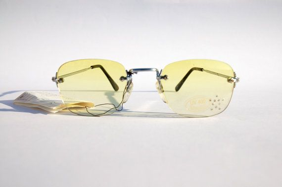 Authentic Vintage 90s Yellow Lens Sunglasses/ by MadameGlam