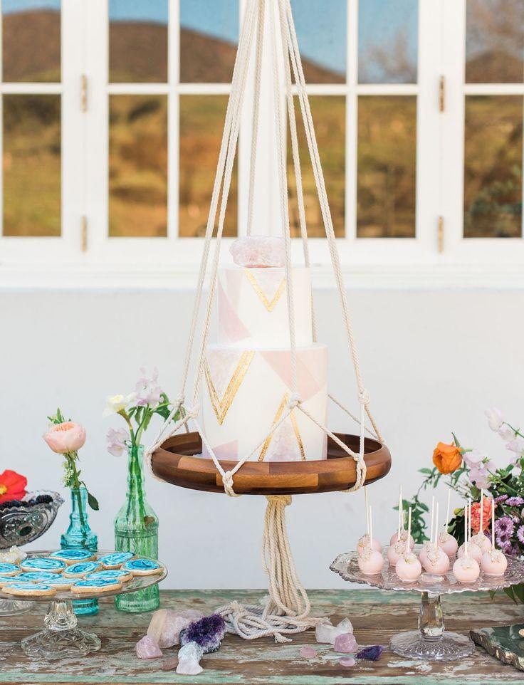hanging pink cake