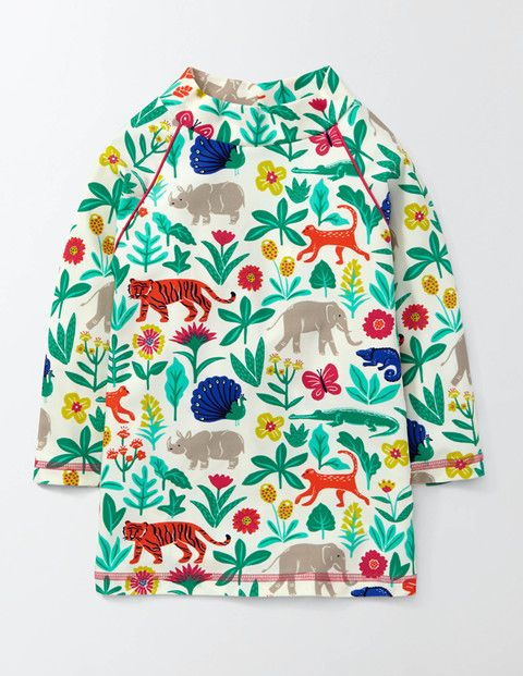 """Awesome rash guard from Boden! Sizes 2-12 """"What if we told you that you could look like a serious surfer, and protect your skin from the sun at the same time? Let us introduce this rash vest (made of UPF 50+ fabric). We think you'll love the sunny colours – they're right at home on the beach."""""""