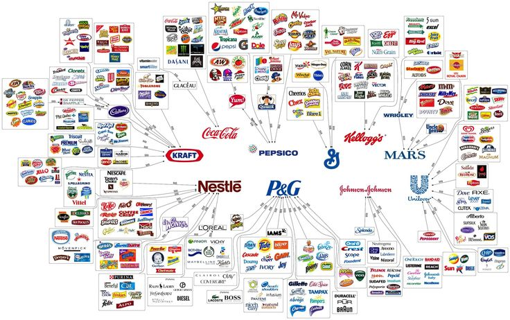 These 10 Companies Own So Much, They Even Own This Graphic:   We already know that 90 percent of the media is controlled by six companies, 37 banks have been consolidated into four, 307 types of corn have been reduced to 12, and these 10 companies own practically everything else.