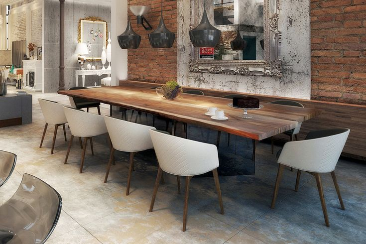 Industrial dining room Using our LIFT dining table with glass base. This contemporary dining table blends chic and contemporary.