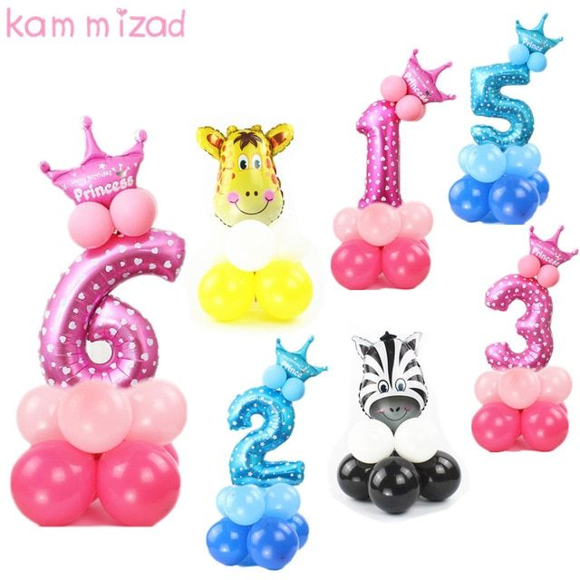 Birthday Number Balloon Princess Birthday Party Foil Ballons Inflatable For Girls Boys 0 1 2 3 Birthday Party Balloon Birthday Balloons Princess Birthday Party