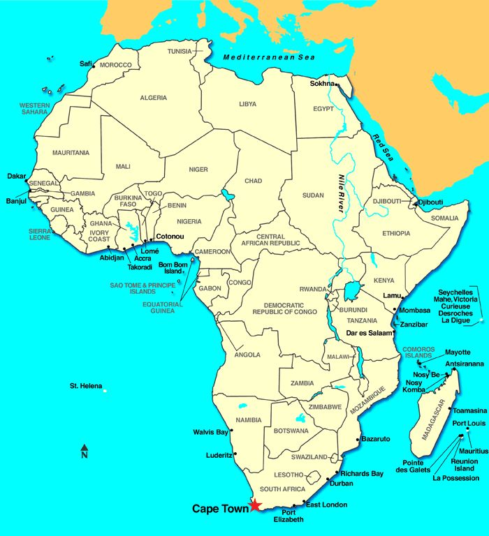 Cape Town Africa Map | Map Of Africa