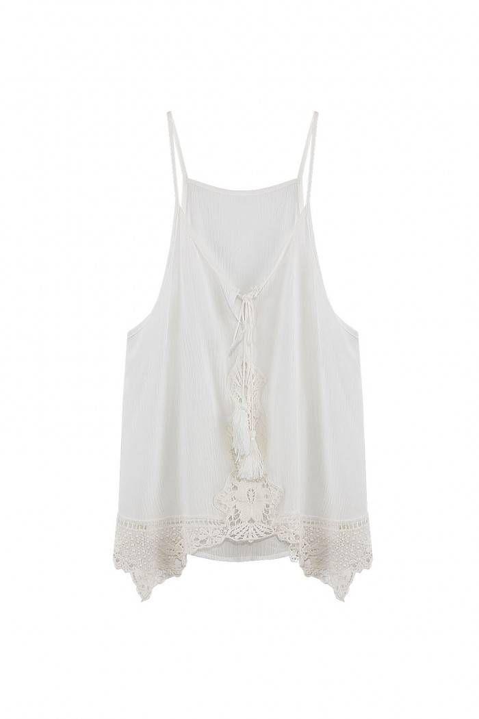 White Lace Up Crochet Cami Top  - US$13.95 -YOINS
