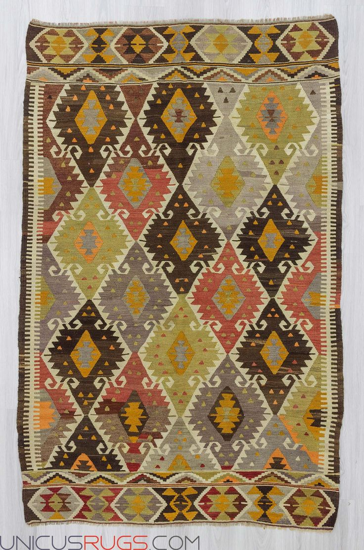 """Vintage colorful kilim rug from Antalya region of Turkey.In good condition.Approximately 50-60 years old Width: 5' 1"""" - Length: 7' 11""""  Colorful Kilims"""
