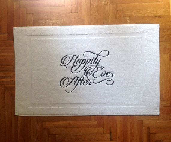 wedding BATH MAT-embroidered Tub mat-Happily by letsdecorateonline