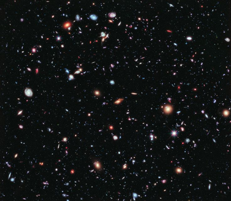The Hubble Extreme Deep Field, a combination of 2,000 separate exposures by the orbiting observatory for a total of over two million seconds, or 23 days. Nearly every single object is a galaxy, a vast collection of billions of stars.