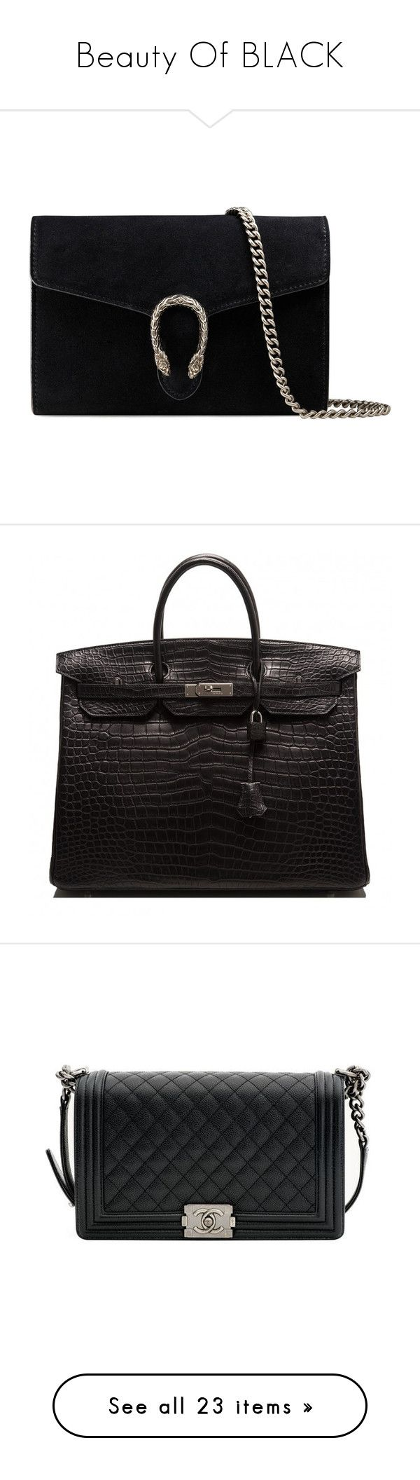Beauty Of BLACK by tina-abbara on Polyvore featuring polyvore, women's fashion, bags, handbags, purses, gucci, sac, black, chain handbags, chain strap handbag, antique purses, structured handbags, hand bags, accessories, hermès, shoulder bags, leather purses, studded leather handbags, chanel purse, shoulder bag purse, leather handbags, tote bags, structured tote bag, leather tote handbags, leather tote, structured leather tote, tote handbags, lightweight purses, lightweight handbags, pocket…