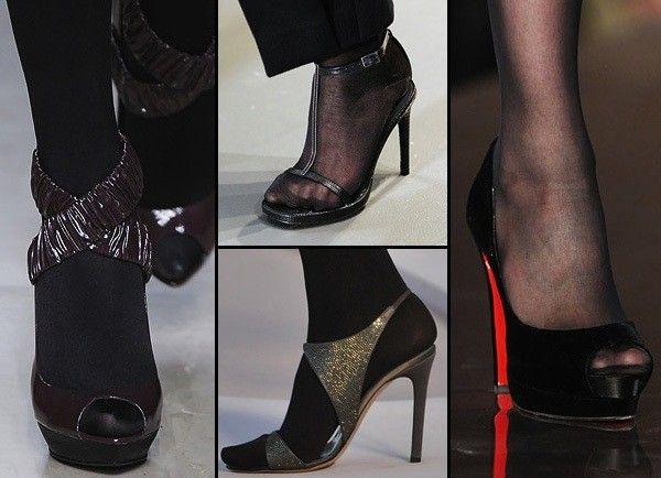 Scarpe open toe con calze