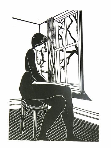 Nude @ the window, nude, woman, window, stool, linocut, print, hand-pulled, black & white, Ellen Von Wiegand