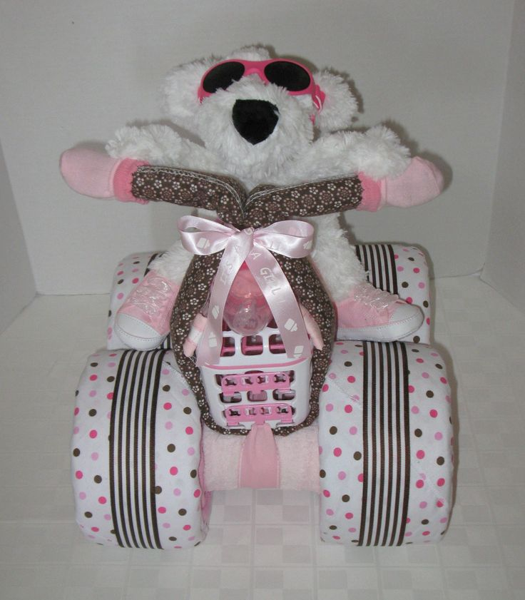 motorcycle diaper cake girl baby gift shower centerpiece baby shower
