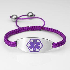 Medische armband, Paars Satijn (paars medisch logo). Graveren alleen op de achterzijde mogelijk.