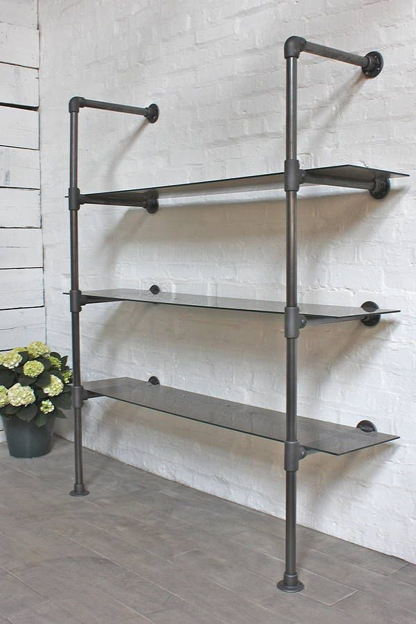 Bronze Glass And Steel Pipe Urban Bookcase Glass Shelves