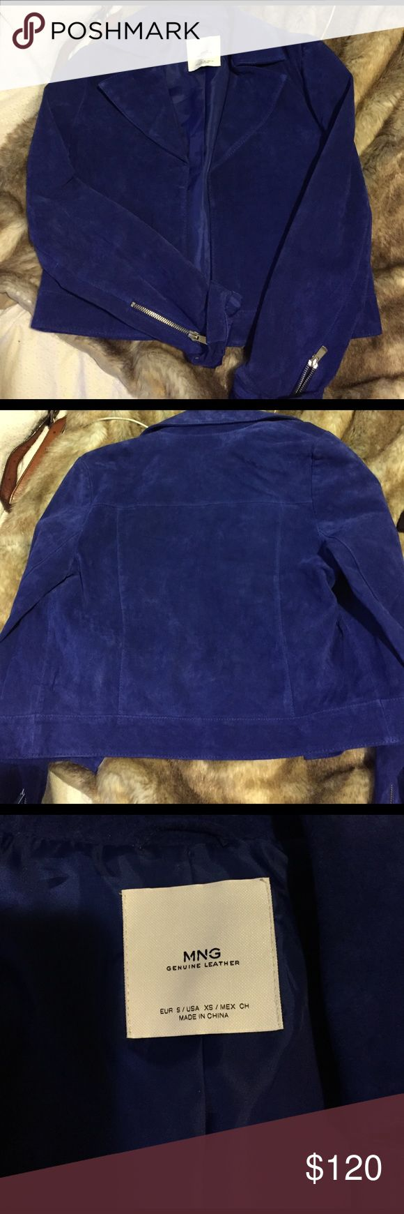 Mango Suede Cropped Leather Jacket, Bright Blue Great to pair with a dress and heels, definitely a statement jacket. Real suede leather. Lapel is slightly bent and may need to be ironed down (purchased this way). Good condition. Happy shopping! Mango Jackets & Coats